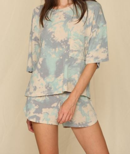 two piece top and short lounge set - tie dye