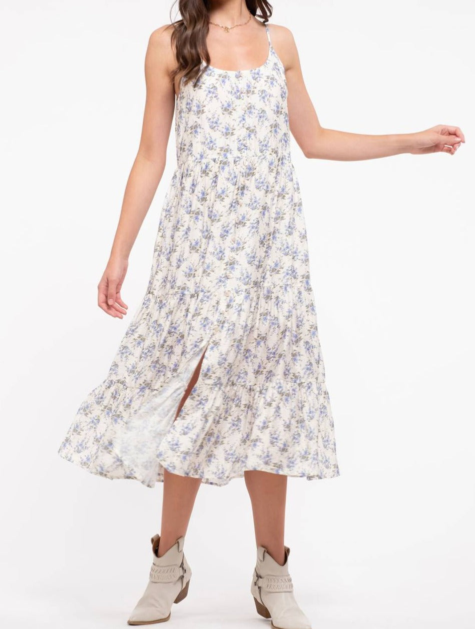 tiered floral print midi dress - ivory multi