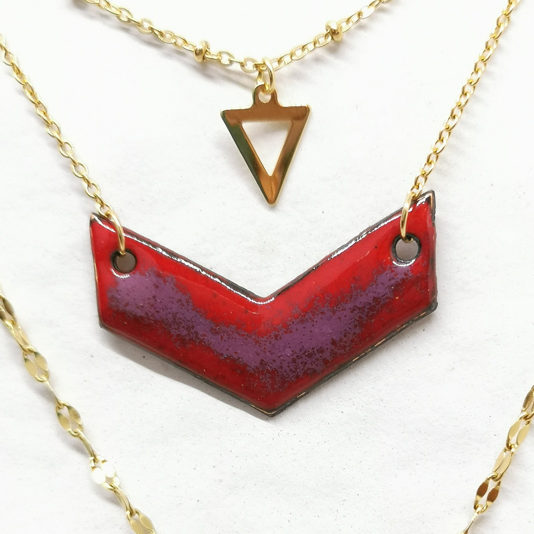 Collier Triple  - Collection Paysage Rouge