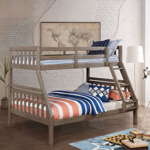 Emilie Wire-Brushed Warm Gray Twin/ Full Bunk Bed image