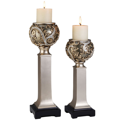 Estelle Champagne Silver Candle Holder Set (4/CTN) image