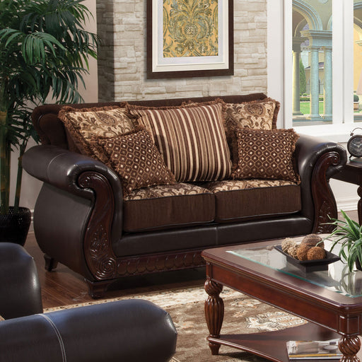 Franklin Dark Brown/Tan Love Seat, Dark Brown image