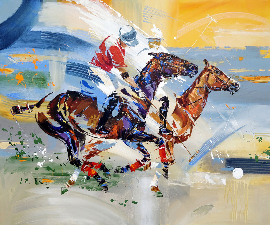 Polo players painting
