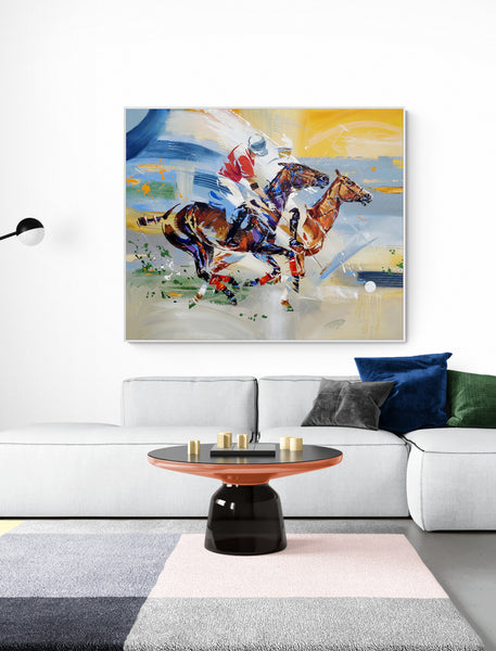 Interiors with horse polo painting