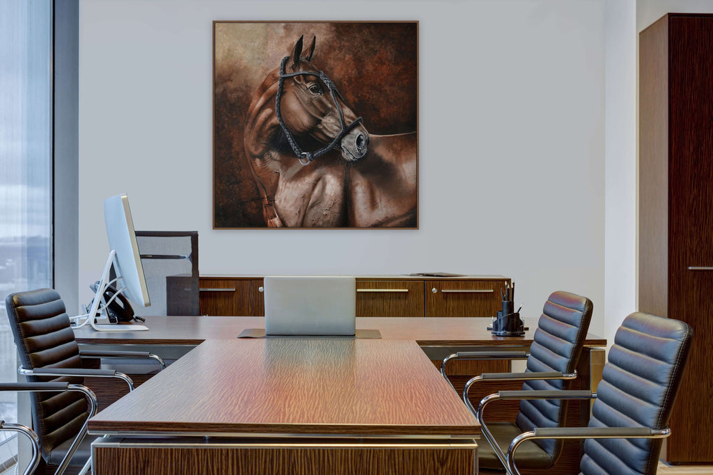 Director cabinet with polo pony painting