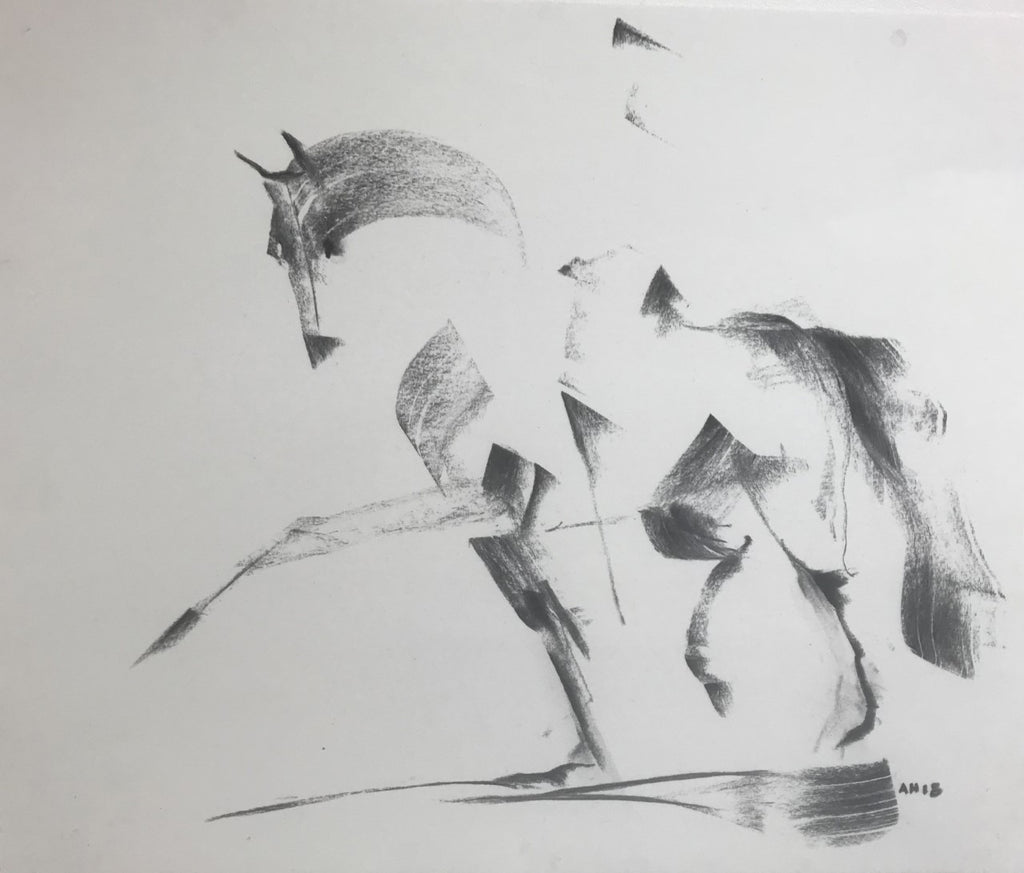 Equestrian charcoal drawing