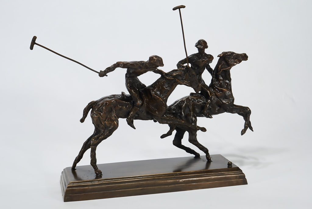 Polo players bronze sculpture