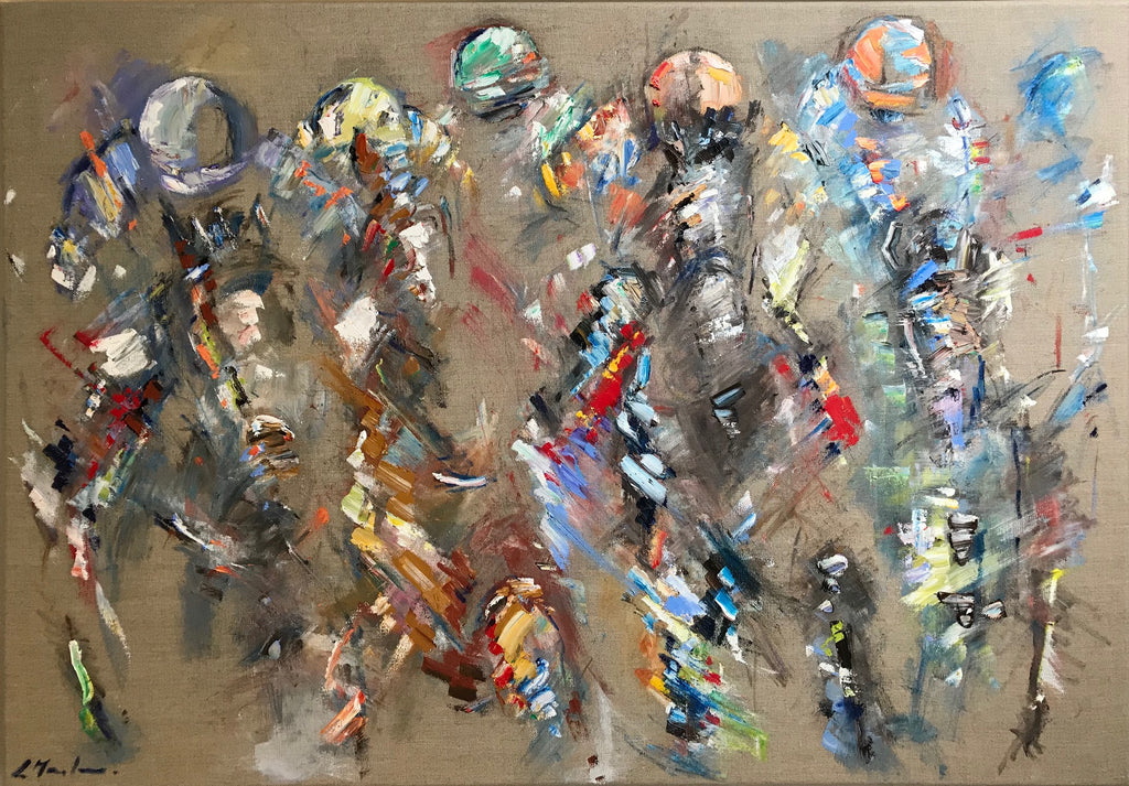 Racing semi abstract painting by Luci Maclaren