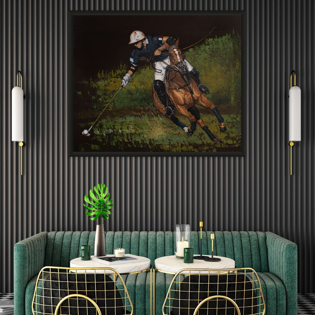 Polo player original oil painting in interiors