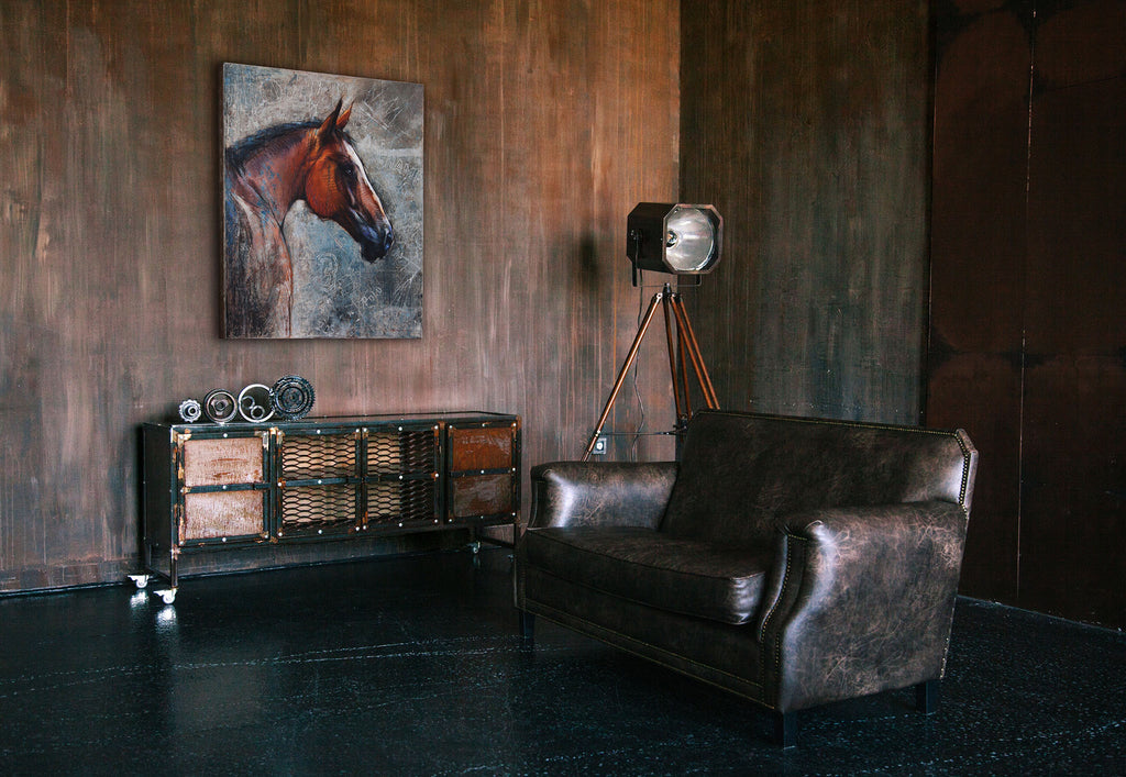 Polo pony painting in contemporary living room