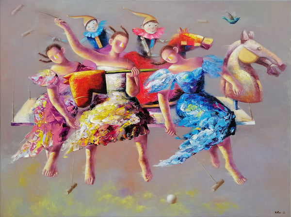 Ladies polo painting by Yutao Ge