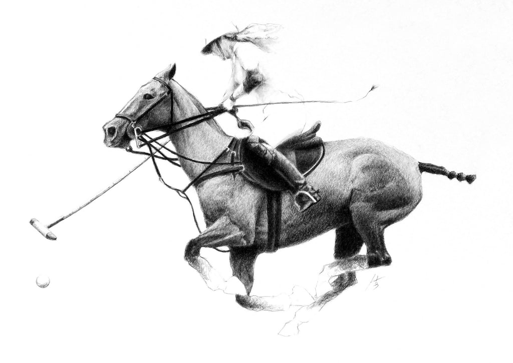 Ladies polo charcoal drawing