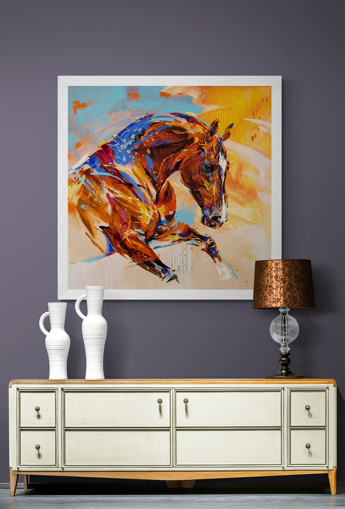 Semi abstract horse portrait by Anna Cher in cabinet