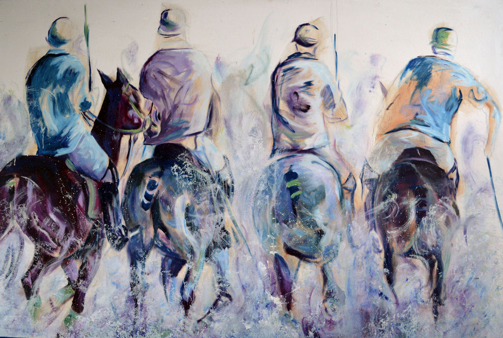 Horse polo oil painting