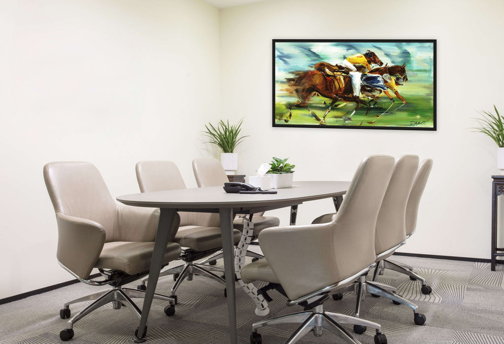 Dynamic polo painting in the meeting room