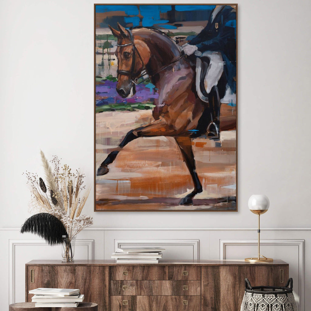 Equitation theme painting by Hartmut Hellner