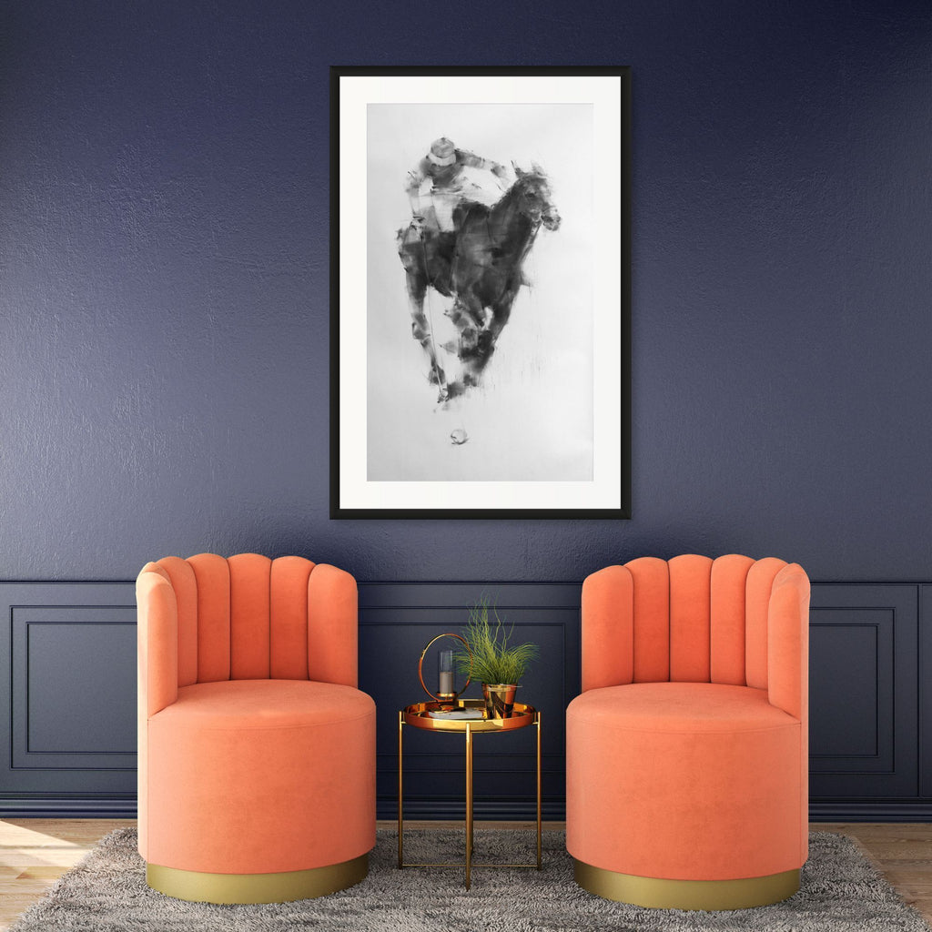 Contemporary interior with equestrian modern drawing by Tianyin Wang.