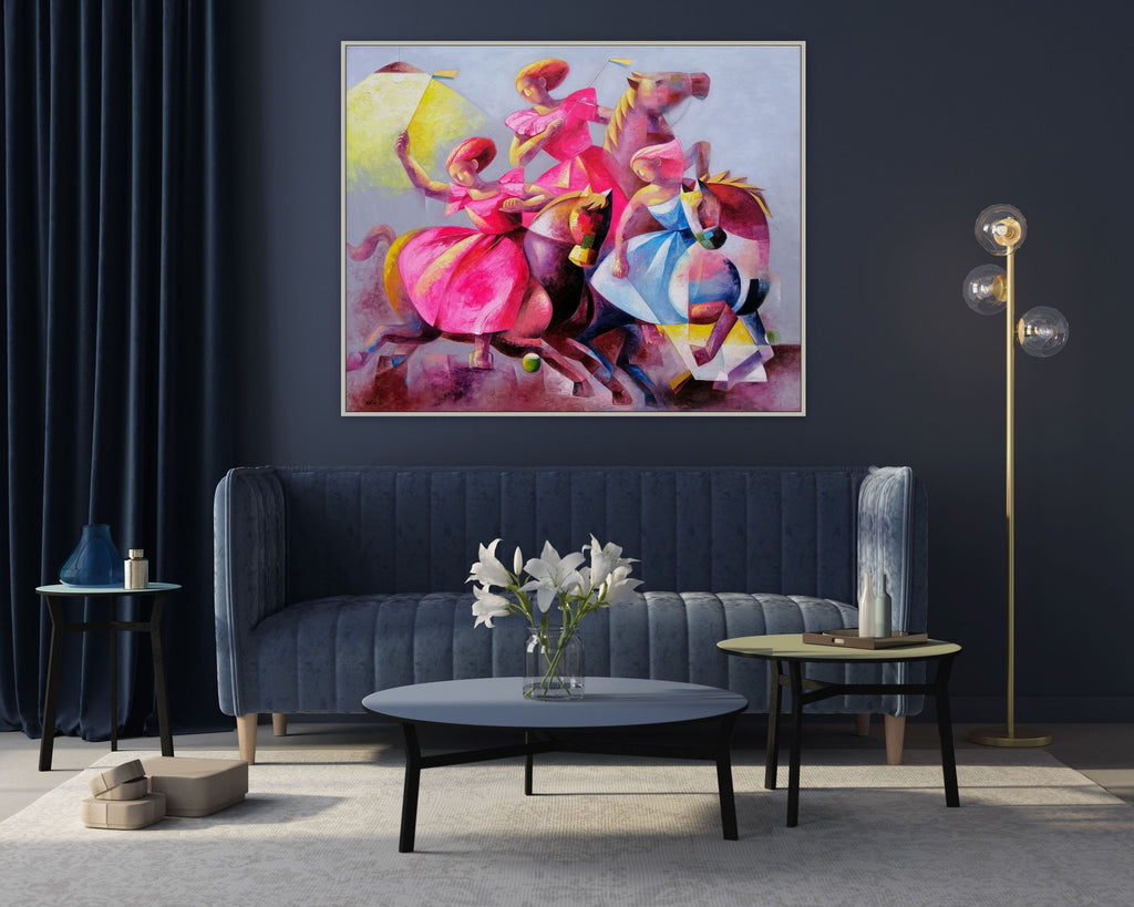 Ladies polo cubistic oil painting
