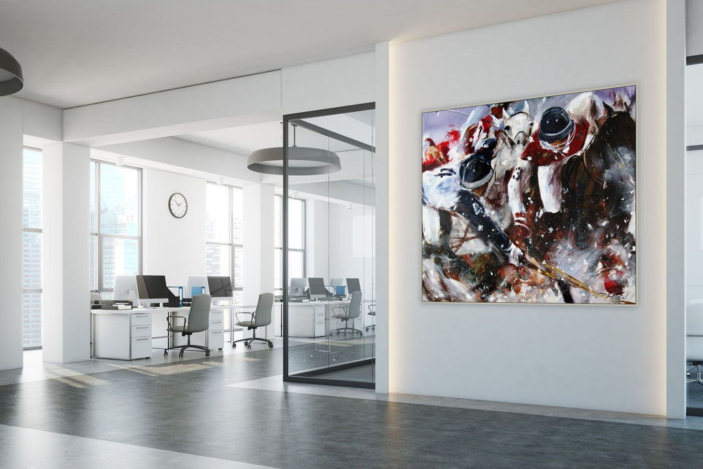 Dynamic polo painting in office