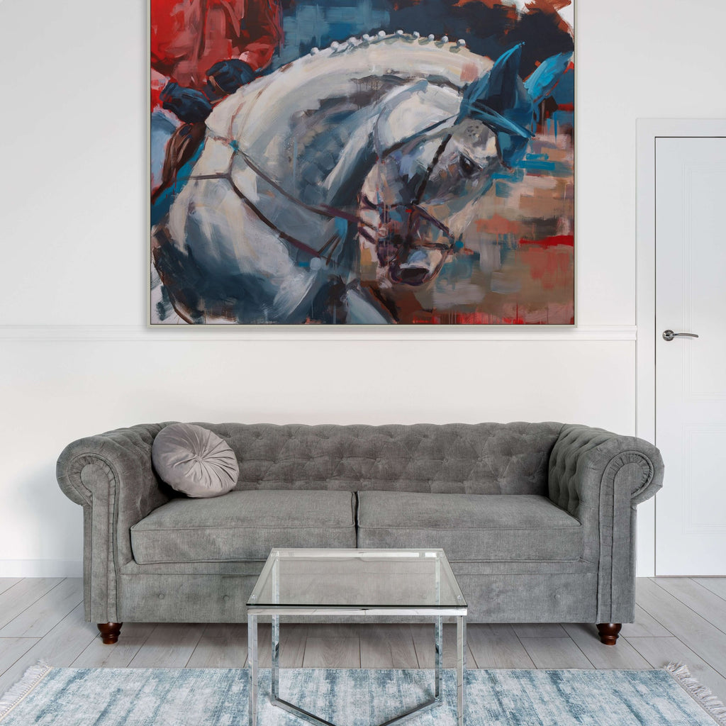 White horse painting by Hartmut Hellner