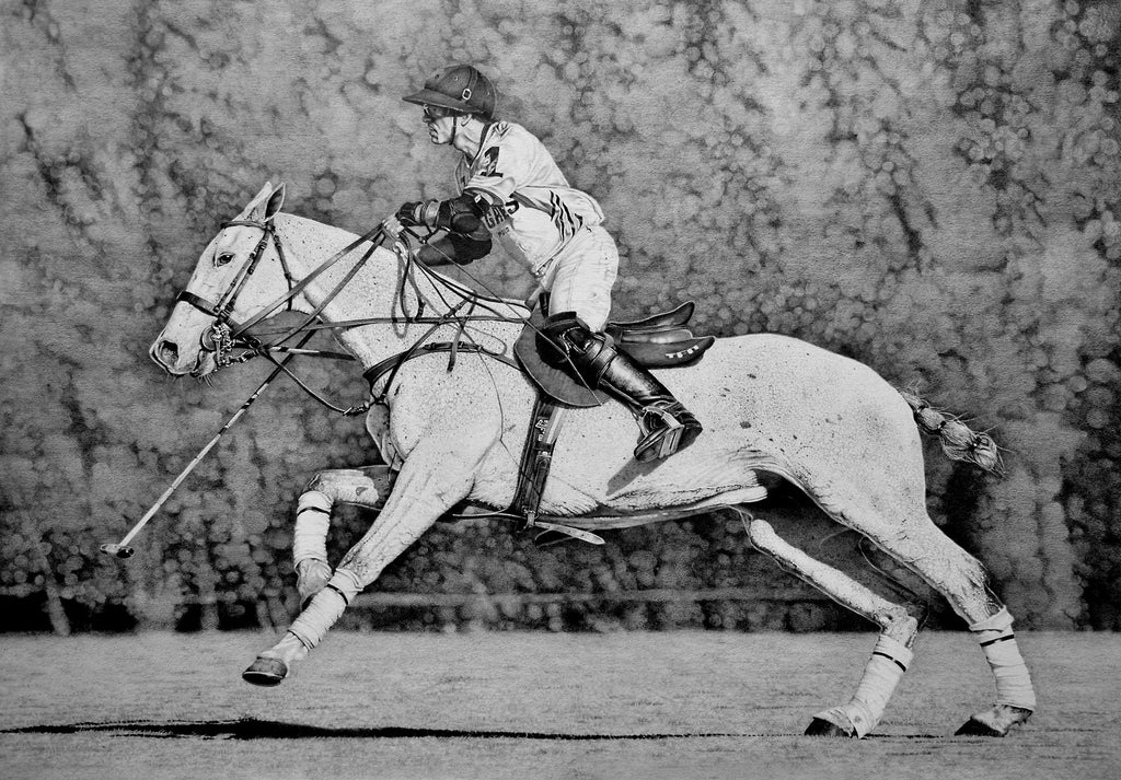 Polo player charcoal drawing
