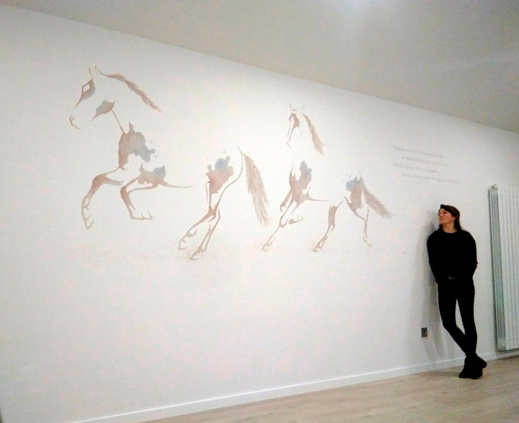 Wall paintings with horses by Carlota Sarvise