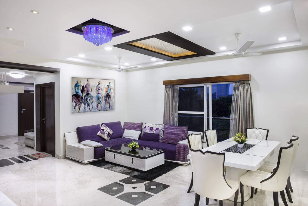 White and purple interiors with polo art