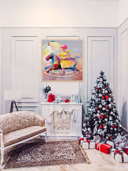 Christmas mood with horse painting by Yutao Ge