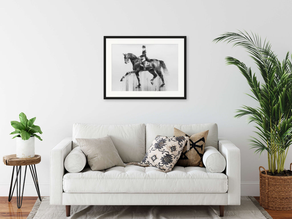 Dressage charcoal drawing