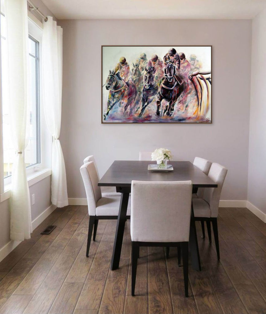 Racing oil painting in interiors