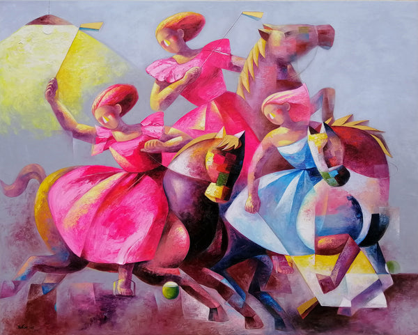 """""""Focus"""" ladies polo painting by Yutao Ge 