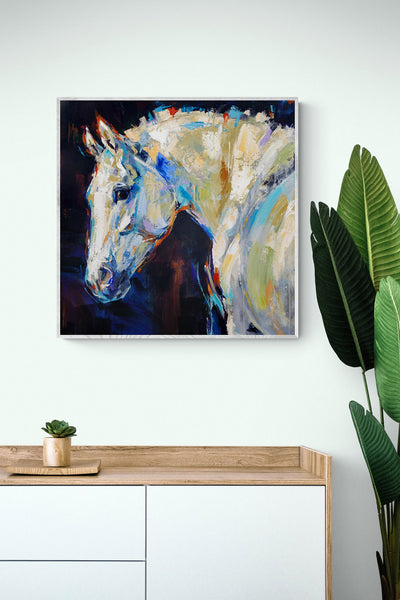 """""""Snow Queen"""" acrylic on canvas painting by Anna Cher   Horse polo art gallery"""