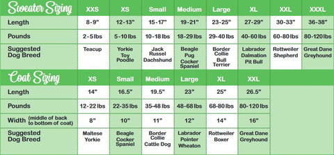 Chilly Dog Sweters sizing chart