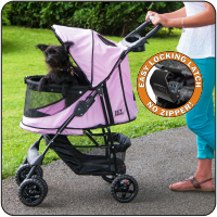 Happy Trails NO-ZIP Pet Stroller - Up to 30 lbs - Rocco's Pets  - Strollers - Pet Gear Pink Diamond - 1