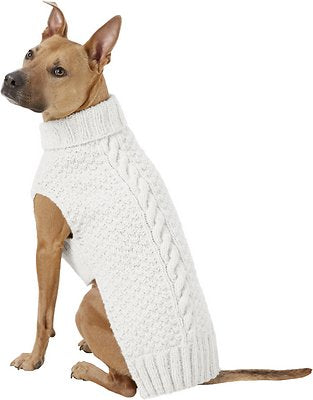 Chilly Dog Natural Cable Knit Wool Dog Sweater
