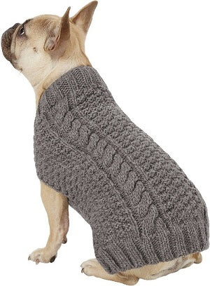 Chilly Dog Grey Cable Knit Handmade Dog Sweater
