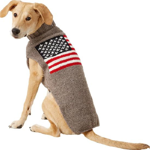 Chilly Dog American Flag Handmade Wool Dog Sweater