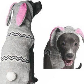 "Handmade Organic Wool Dog Sweater - Bunnie with Hood - Rocco's Pets  - Sweater - Rocco's Pets XXSmall - 8-9"" length, 2-5 lbs"
