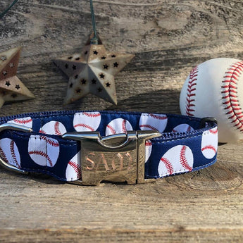 Baseball Adjustable Ribbon Dog Collar