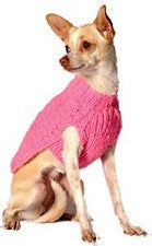 Handmade Pink Cable Knit Organic Wool Dog Sweater - Rocco's Pets  - Sweater - Rocco's Pets