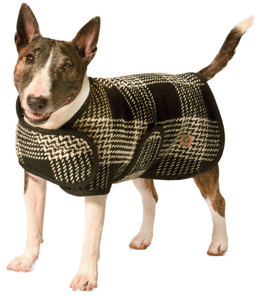 Chilly Dog Plaid Black & White Organic Wool Dog Coat Blanket