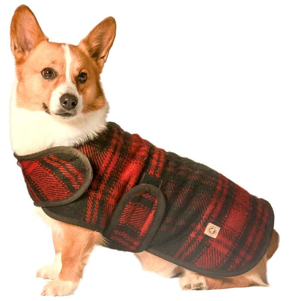 Chilly Dog Plaid Red & Black Organic Wool Dog Coat Blanket
