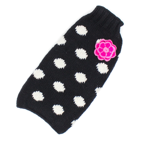 Handmade Black Polka Dot Flower Organic Wool Dog Sweater - Rocco's Pets  - Sweater - Rocco's Pets   - 1