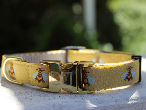 Honey Bee Adjustable Ribbon Dog Collar