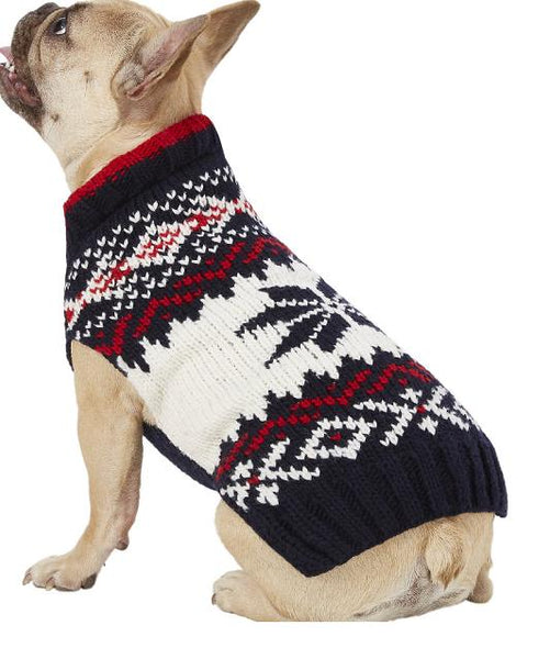 Chilly Dog Navy Blue Vail Fairisle Organic Wool Dog Sweater