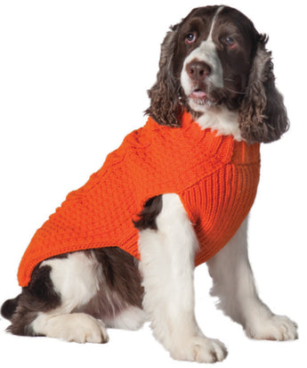 Chilly Dog Orange Cable Knit Wool Dog Sweater