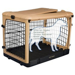 "Deluxe Steel Crate ""The Other Door®"" Tan - Rocco's Pets  - Crate - Pet Gear Capacity 30 lbs.(27""L x18.25""W x21.75""H) - 1"