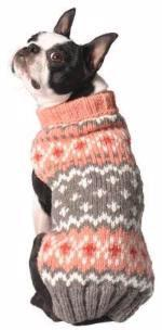 Chilly Dog Peach Fairisle Organic Wool Dog Sweater
