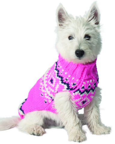 Chilly Dog Pink Nordic Fairisle Wool Dog Sweater