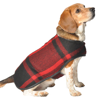 Chilly Dog Plaid Red & Black Wool Dog Coat Blanket